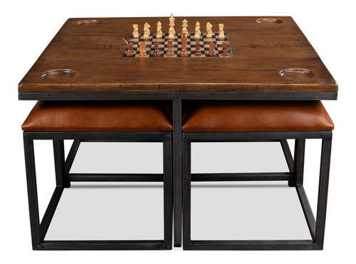 Sarreid Low Game Table with Four Stool - 1