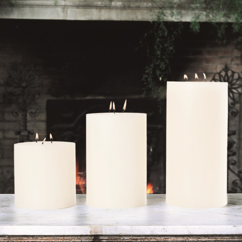 3 Wick Pillar Candle-Unscented-6 Inches X12 Inches