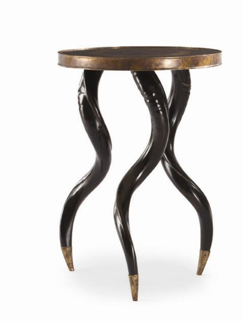 """27"""" Century Furniture Faux Horn Ebony Chairside Table - 1"""