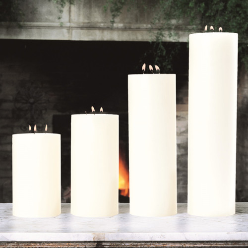 3 Wick Pillar Candle-Unscented-5 Inches X10 Inches