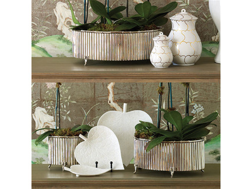 Corrugated Bamboo Cachepot-Nickel-Sm