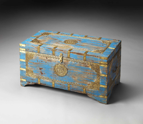 Neela Painted Brass Inlay Storage Trunk