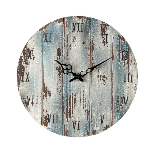 "16"" ELK Home Wooden Roman Numeral Outdoor Wall Clock in Belos Dark Blue, Traditional - 1"