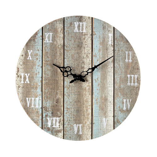 "16"" ELK Home Wooden Roman Numeral Outdoor Wall Clock in Below Light Blue, Traditional - 1"