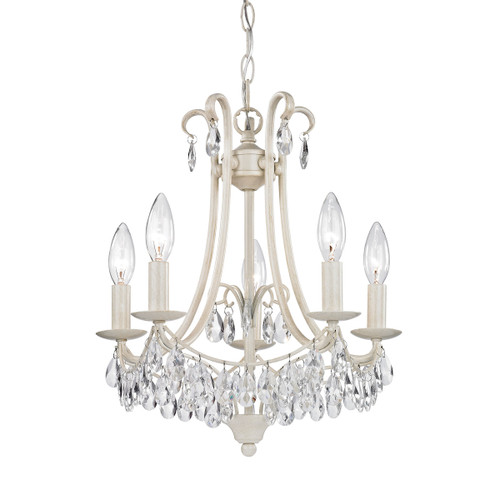 """16"""" ELK Home Victorian 5-Light Mini Chandelier in Antique Cream and Clear, Transitional - 1"""