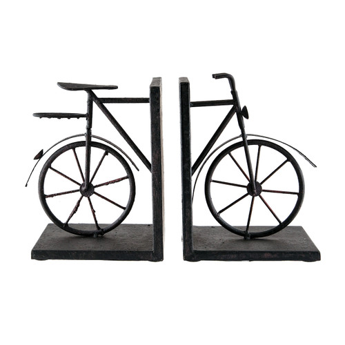 """13"""" ELK Home A-PAIR BICYCLE BOOKENDS, Traditional - 1"""