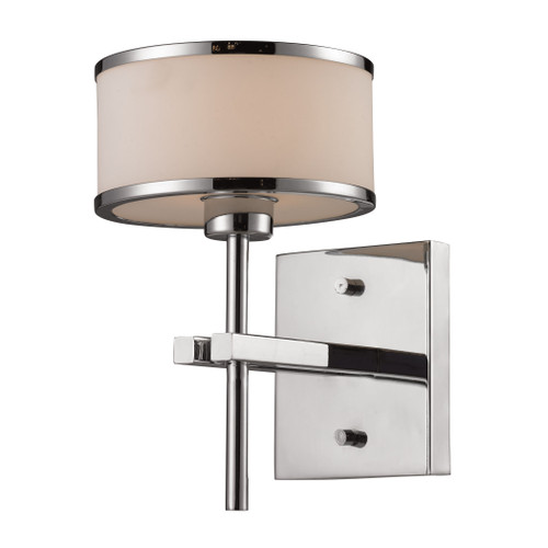 "10"" ELK Lighting Utica 1-Light Vanity Lamp in Polished Chrome with White Blown Glass, Transitional - 1"