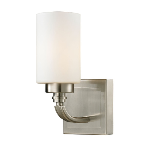"10"" ELK Lighting Dawson 1-Light Vanity Lamp in Brushed Nickel with White Glass, Transitional - 1"