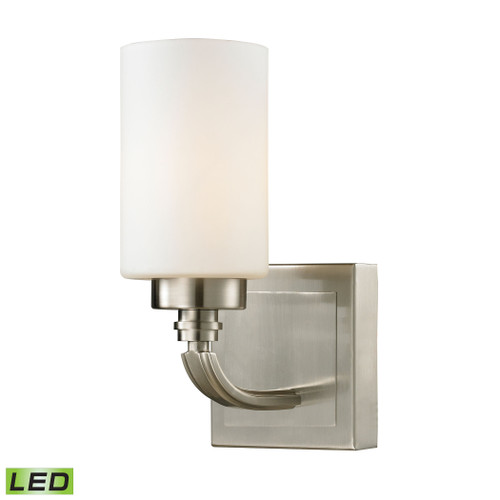 "10"" ELK Lighting Dawson 1-Light Vanity Lamp in Brushed Nickel with White Glass - Includes LED Bulb, Transitional - 1"