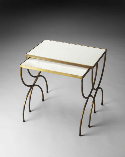 Bacchus Marble & Iron Nesting Tables