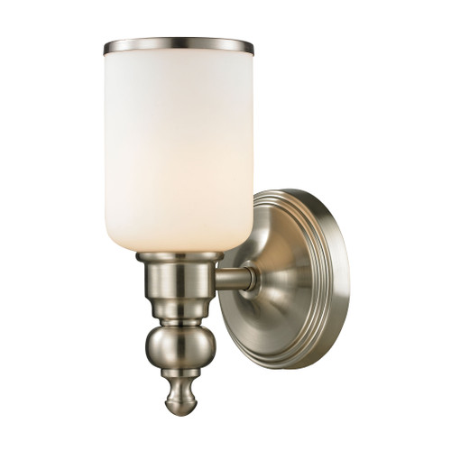 "10"" ELK Lighting Bristol Way 1-Light Vanity Lamp in Brushed Nickel with Opal White Blown Glass, Traditional - 1"