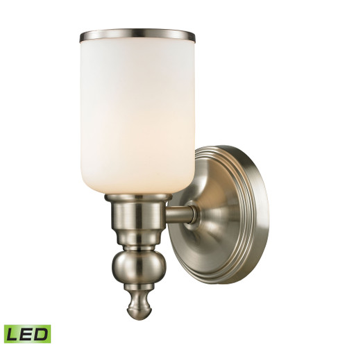 "10"" ELK Lighting Bristol 1-Light Vanity Lamp in Brushed Nickel with Opal White Blown Glass - Includes LED Bulb, Traditional - 1"