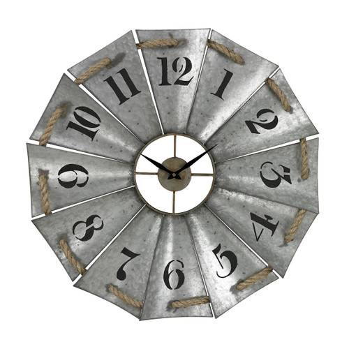 "29"" ELK Home Aluminum and Rope Wall Clock, Traditional - 1"