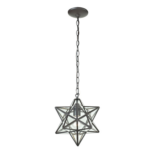 "10"" ELK Home Star 1-Light Mini Pendant in Oiled Bronze with Clear Glass - Small, Traditional - 1"