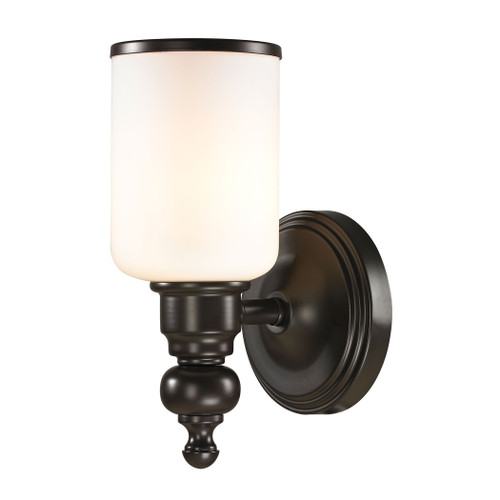 "10"" ELK Lighting Bristol Way 1-Light Vanity Lamp in Oil Rubbed Bronze with Opal White Blown Glass, Traditional - 1"