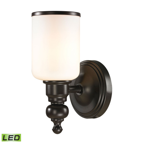 "10"" ELK Lighting Bristol 1-Light Vanity Lamp in Oil Rubbed Bronze with Opal White Blown Glass - Includes LED Bulb, Traditional - 1"
