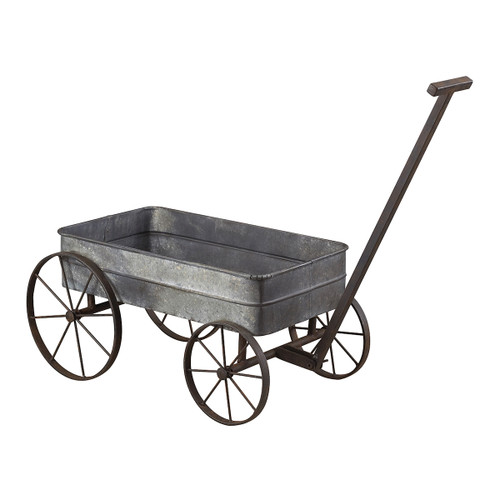 """42"""" ELK Home Metal Cart Planter with Handle, Transitional - 1"""