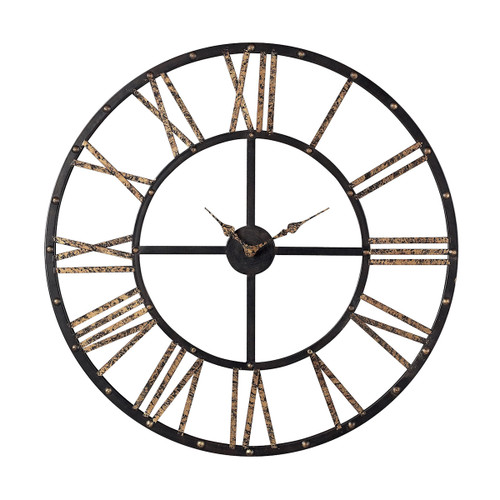 "28"" ELK Home Metal-framed Roman Numeral Open Back Wall Clock, Traditional - 1"