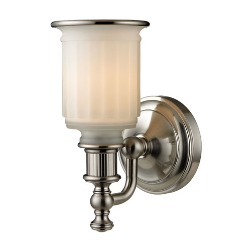 "10"" ELK Lighting Acadia 1-Light Vanity Lamp in Brushed Nickel with Opal Reeded Pressed Glass, Traditional - 1"