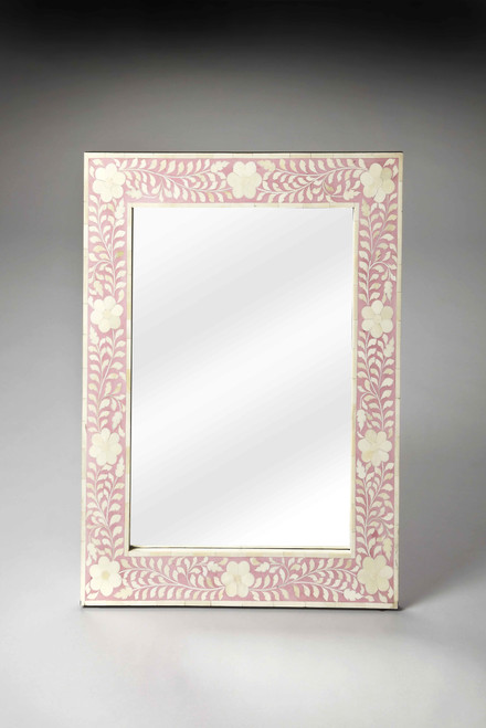 Vivienne Pink Bone Inlay Wall Mirror