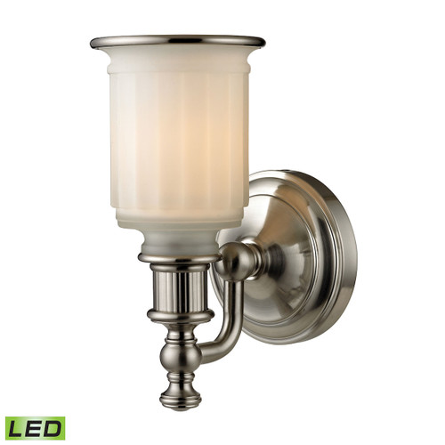 """10"""" ELK Lighting Acadia 1-Light Vanity Lamp in Brushed Nickel with Opal Reeded Pressed Glass - Includes LED Bulb, Traditional - 1"""