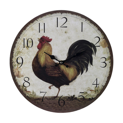 "13"" ELK Home ROOSTER CLOCK - LARGE, Traditional - 1"