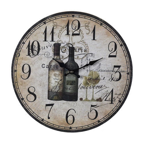 "13"" ELK Home FRENCH WINE BOTTLES CLOCK, Traditional - 1"