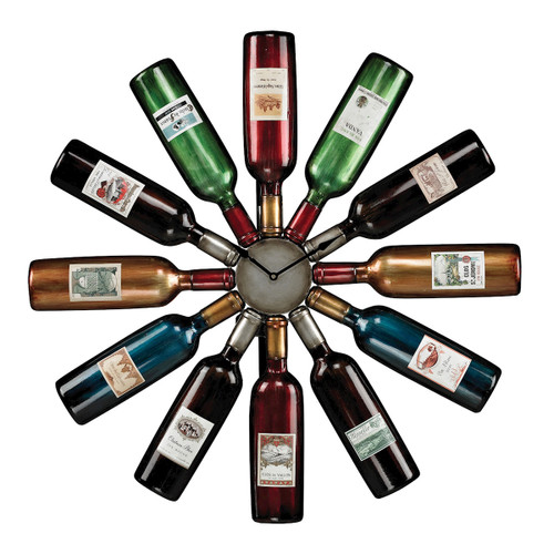 "30"" ELK Home Wine Bottle Clock, Traditional - 1"