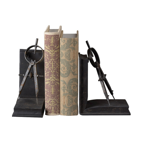 """Set of 2 ELK Home Compass Bookends, Transitional 12"""" - 1"""