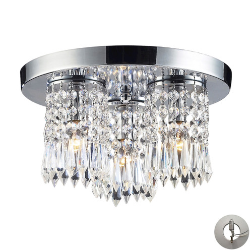 "12"" ELK Lighting Optix 3-Light Semi Flush in Polished Chrome with 32% Lead Crystal - Includes Adapter Kit, Modern / Contemporary - 1"