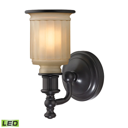 """10"""" ELK Lighting Acadia 1-Light Vanity Lamp in Oiled Bronze with Opal Reeded Pressed Glass - Includes LED Bulb, Traditional - 1"""