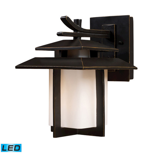 "11"" ELK Lighting Kanso 1-Light Outdoor Wall Lamp in Hazelnut Bronze - Includes LED Bulb, Transitional - 1"