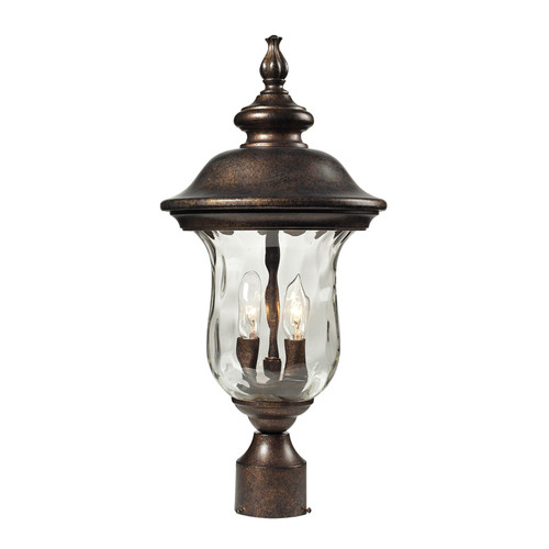 Lafayette 2 Light Outdoor Post Lamp In Regal Bronze And Water Glass