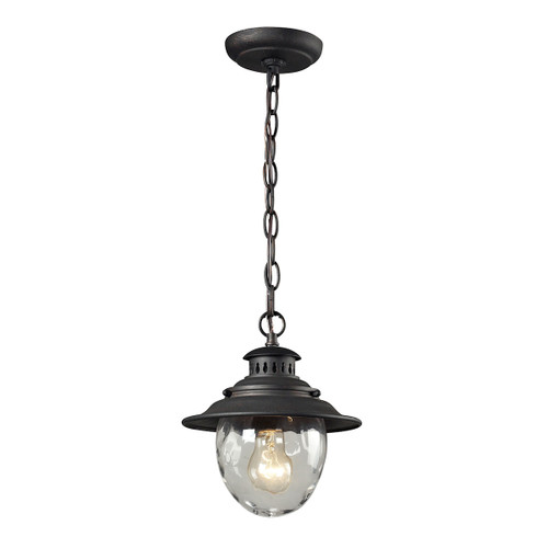 "10"" ELK Lighting Searsport 1-Light Outdoor Pendant in Weathered Charcoal, Traditional - 1"