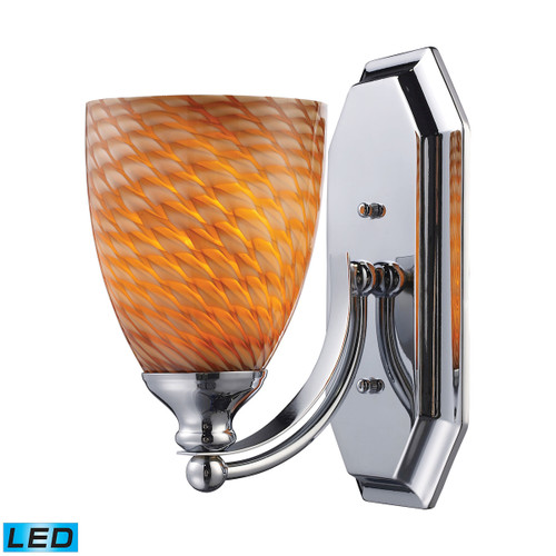 """10"""" ELK Lighting Mix and Match Vanity 1-Light Wall Lamp in Chrome with Cocoa Glass - Includes LED Bulb, Transitional - 1"""