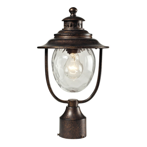 Searsport 1 Light Outdoor Post Lamp In Regal Bronze And Water Glass