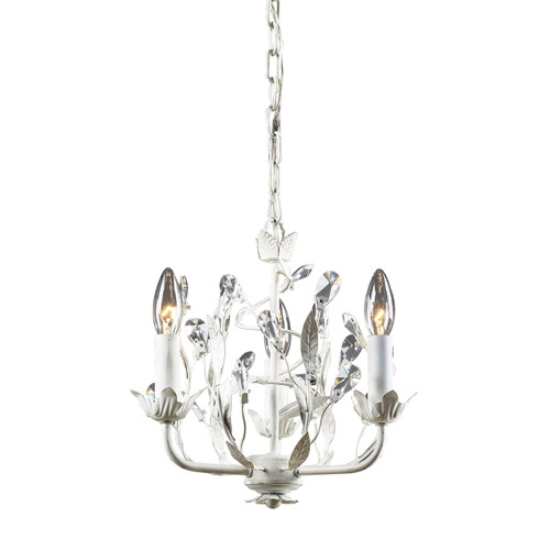 """12"""" ELK Lighting Circeo 3-Light Chandelier in Antique White with Crystal, Traditional - 1"""