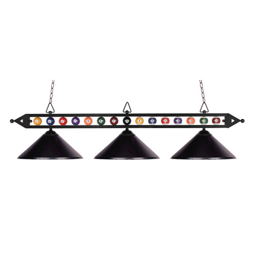 "58"" ELK Lighting Designer Classics 3-Light Billiard Light in Matte Black with Billiard Motif, Transitional - 1"
