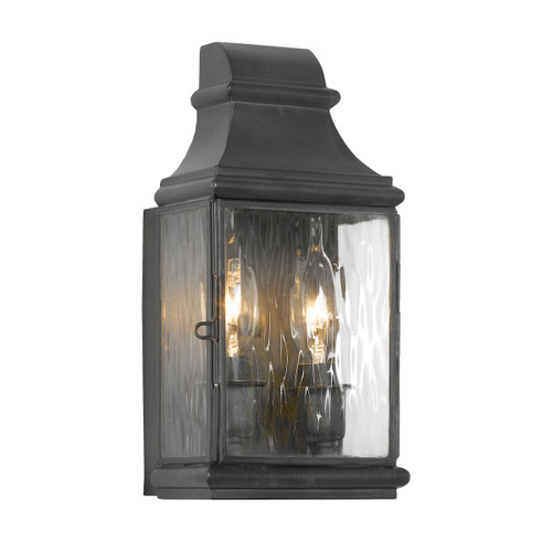 "11"" ELK Lighting Jefferson 2-Light Outdoor Wall Lamp in Charcoal, Traditional - 1"