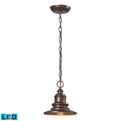 "9"" ELK Lighting Marina 1-Light Outdoor Pendant in Hazelnut Bronze - Includes LED Bulb, Traditional - 1"