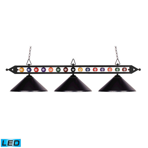 "58"" ELK Lighting Designer Classics 3-Light Billiard Light in Matte Black with Billiard Motif - Includes LED Bulbs, Transitional - 1"