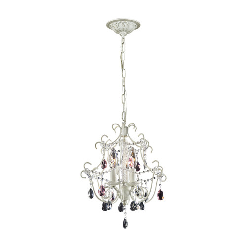 """15"""" ELK Lighting Elise 3-Light Chandelier in Antique White with Crystal, Traditional - 1"""