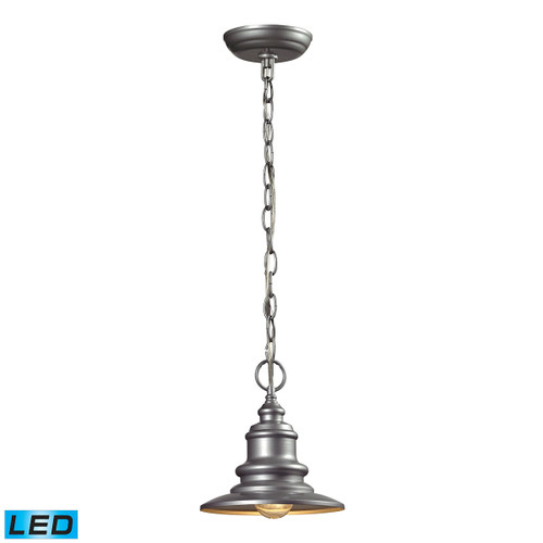 "9"" ELK Lighting Marina 1-Light Outdoor Pendant in Matte Silver - Includes LED Bulb, Traditional - 1"