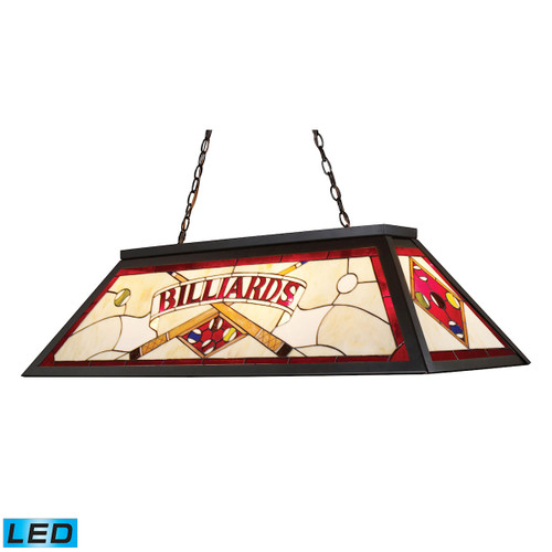 "44"" ELK Lighting Tiffany 4-Light Billiard Light in Tiffany Bronze with Red Billiard Motif - Includes LED Bulbs, Traditional - 1"