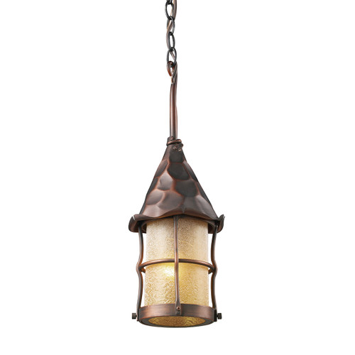 "18"" ELK Lighting Rustica 1-Light Outdoor Pendant in Antique Copper, Traditional - 1"