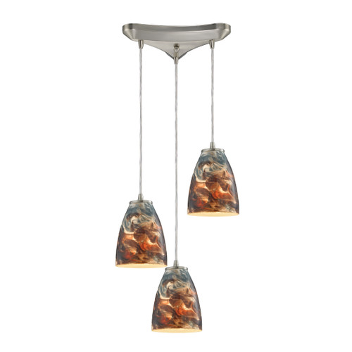 "10"" ELK Lighting Abstractions 3-Light Triangular Pendant Fixture in Satin Nickel with Cosmic Storm Glass, Transitional - 1"