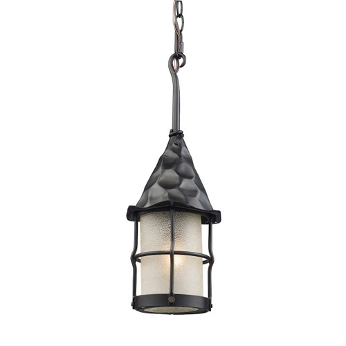 "18"" ELK Lighting Rustica 1-Light Outdoor Pendant in Matte Black, Traditional - 1"