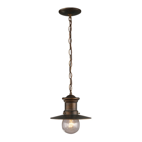"11"" ELK Lighting Maritime 1-Light Outdoor Pendant in Hazelnut Bronze, Transitional - 1"