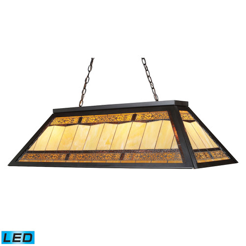 """44"""" ELK Lighting Filigree 4-Light Billiard Light in Tiffany Bronze with Tiffany Style Glass - Includes LED Bulbs, Traditional - 1"""