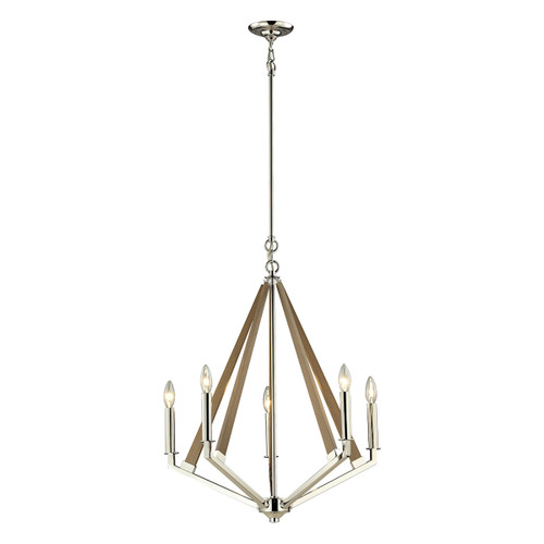 "28"" ELK Lighting Madera 5-Light Chandelier in Polished Nickel and Taupe, Modern / Contemporary - 1"